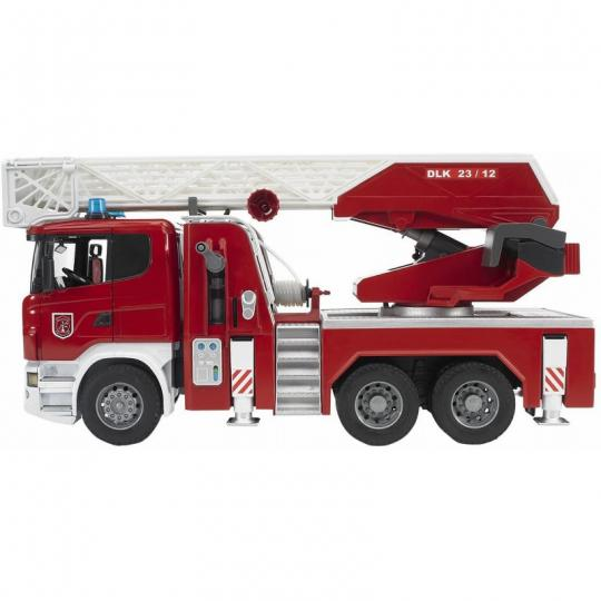 Bruder 03590 - Scania R-Serie Feuerwehrleiterwagen mit Wasserpumpe und Light & Sound Modul